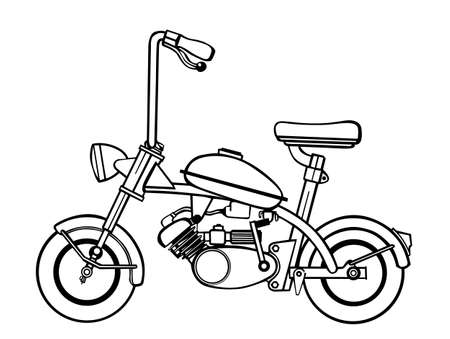 moped silhouette on white background Vector