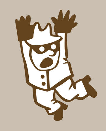 perpetrator: bandit silhouette on brown background Illustration