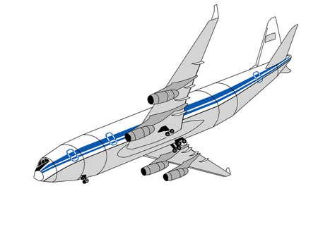 view from the plane: plano de la silueta sobre el fondo blanco Vectores