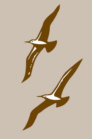 albatross: flying birds silhouette on brown background, vector illustration