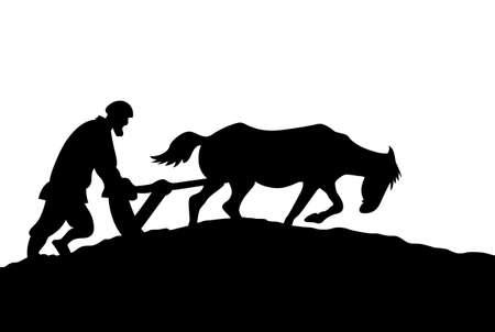 ploegen: boer silhouet op witte achtergrond