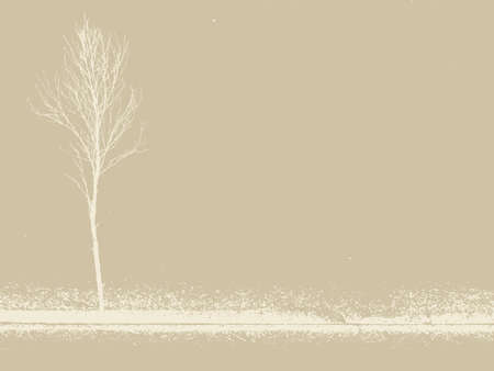 burnt paper: small tree on grunge background