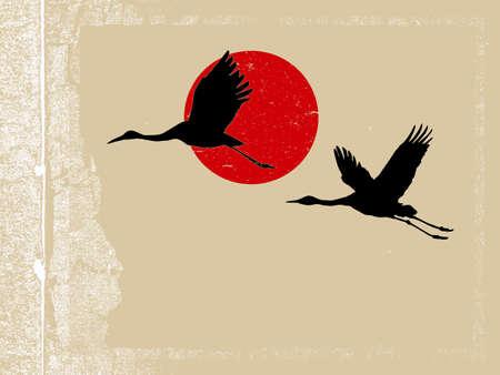 crane bird: flying crane on grunge background Illustration