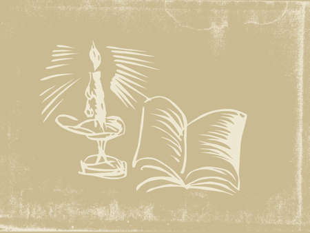 candlestick silhouette on old paper Vector
