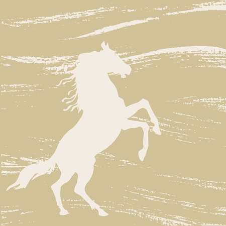 sepia: horse silhouette on grunge background