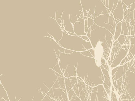 crow silhouette on brown background Vector