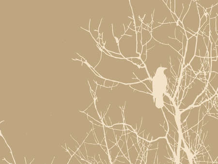 crow on tree on brown background Vector