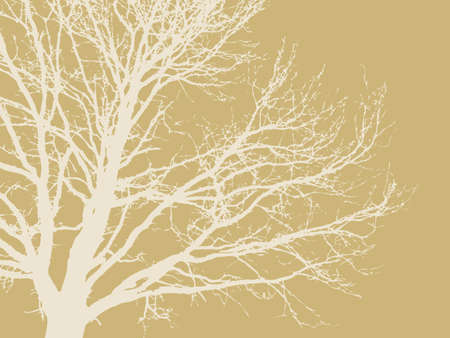tree silhouette on brown background Vector