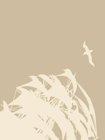 sailfish: парусник силуэт на коричневом фоне