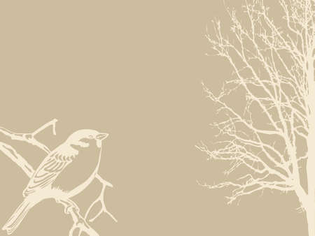 spoiled frame: bird silhouette on wood background Illustration