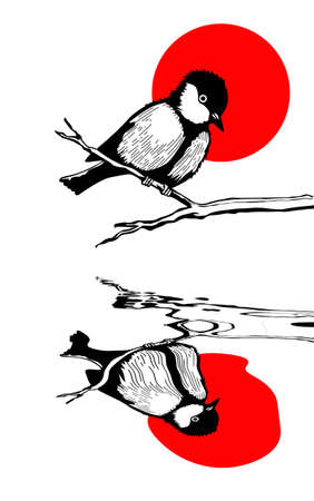 tomtit: bird on branch silhouette on solar background, vector illustration Illustration