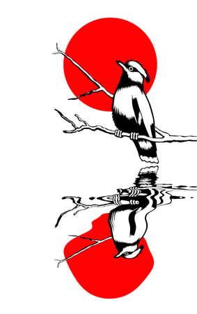 ptak na gałęzi sylwetka na słonecznej tle, ilustracji wektorowych