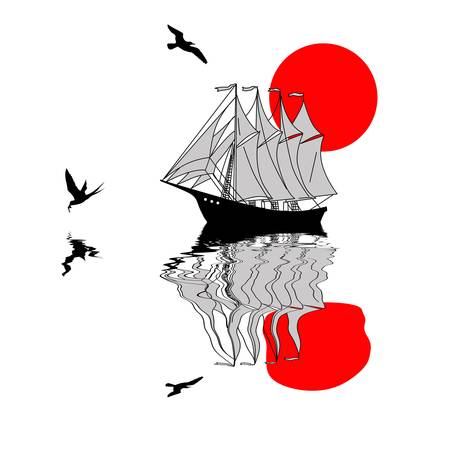 bandera japon: silueta de pez vela en la ilustración vectorial de fondo blanco,