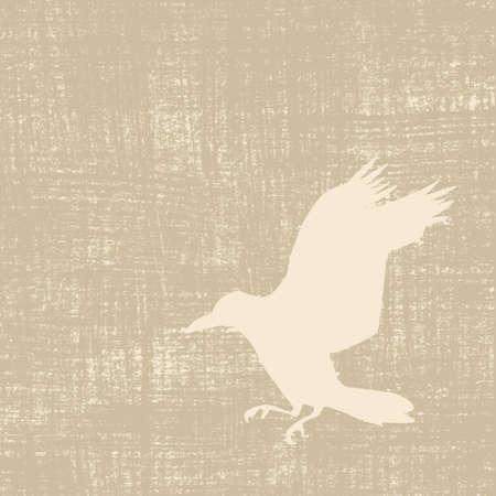 dessin au trait: silhouette corneille sur fond de grunge, illustration vectorielle