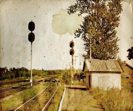 rural railway station on aging paper photo