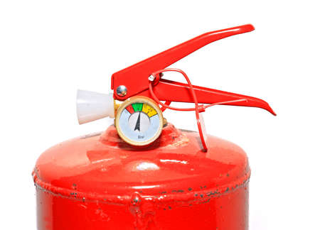 schutz: red extinguisher on white background