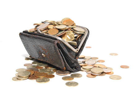 coins in purse on white background Stock Photo - 12247077