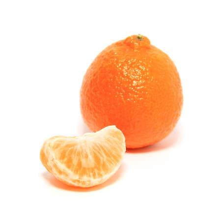 mandarina: orange tangerine on white background Stock Photo