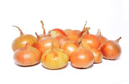 pealing: onion on white background Stock Photo