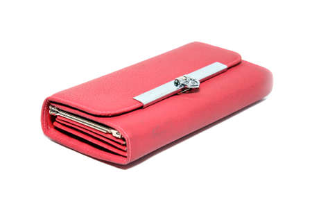 red purse on white background photo