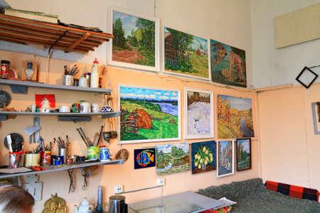artist studio in old building