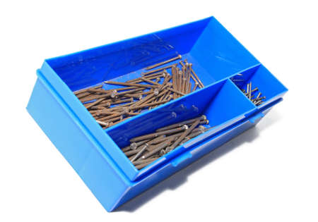nail in blue plastic box Stock Photo - 12247613
