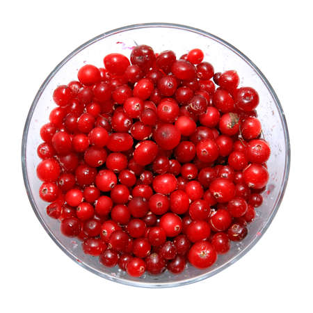 cranberry in plate on white background photo