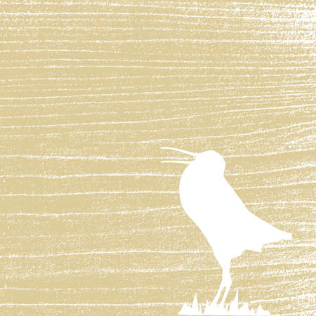 rifts: snipe amongst herbs on grunge background, vector illustration