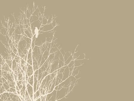 parchment texture: corvo sul ramo su sfondo marrone, illustrazione vettoriale Vettoriali