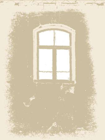 construction paper art: window on grunge background, vector illustration Illustration
