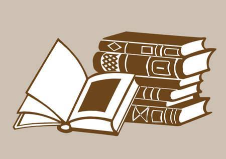 books on brown  background, vector illustration Vector