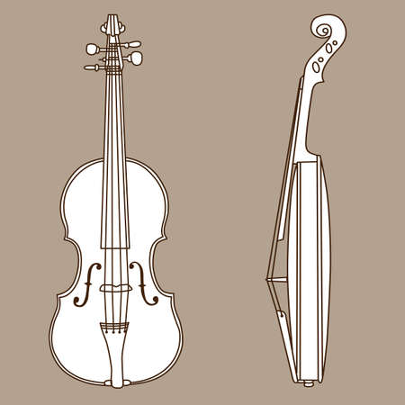 violin silhouette on brown background, vector illustration Vector