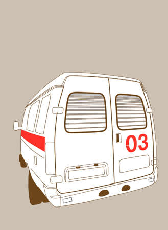 car to ambulance on brown background, vector illustration Vector