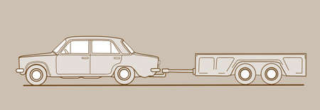 car with trailor on brown  background, vector illustration Vector