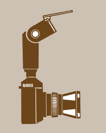 digital slr: camera silhouette on brown  background, vector illustration Illustration