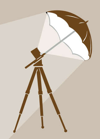 tripod silhouette on brown  background, vector illustration Vector