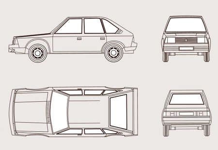 Auto Silhouette auf weißem Hintergrund, Vektor-Illustration