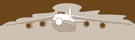plane silhouette on brown  background, vector illustration Vector
