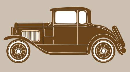 retro car on brown  background, vector illustration Vector
