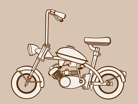 moped: moped silhouette on brown  background, vector illustration