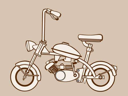 ciclomotore silhouette su sfondo marrone, illustrazione vettoriale
