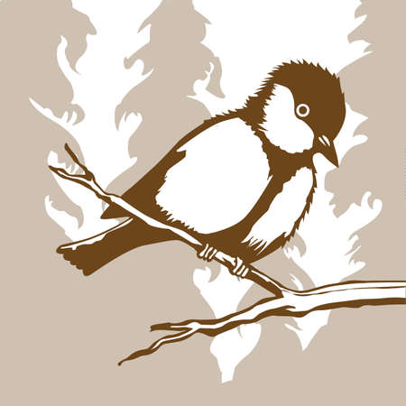 bird silhouette on wood background, vector illustration Vector