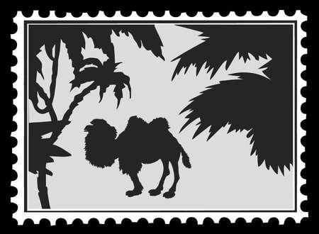 silhouette camel on postage stamps, vector illustration Vector