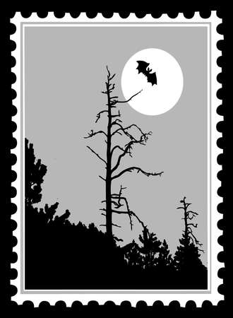 silhouette to bat on postage stamps, vector illustration Vector