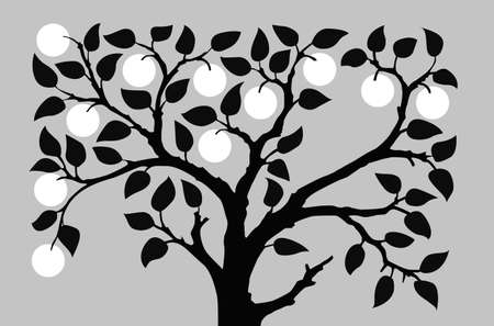 aple: silhouette to aple trees on gray background, vector illustration