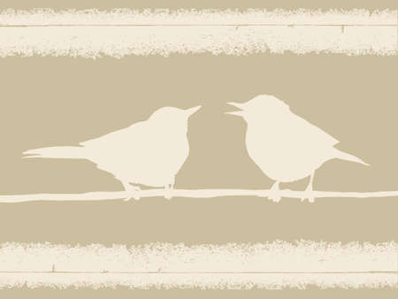 bird silhouette on old paper, vector illustration Vector