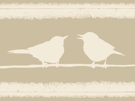 spoiled: bird silhouette on old paper, vector illustration Illustration