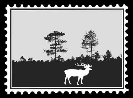 silhouet herten op postzegels, vector illustration