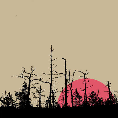 rifts: sun in wood on brown background, vector illustration