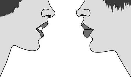 adversaire: silhouette deux womans sur fond blanc, illustration vectorielle